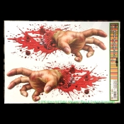 Creepy Gothic Horror Bloody-ZOMBIE SEVERED HUMAN HANDS-Spooky Halloween Haunted House Prop Scary Party Decoration Bathroom Mirror Tattoo STATIC WINDOW CLING Glass Door Decor Refrigerator Dishwasher Appliance Sticker Car Decal-NOT Sticky