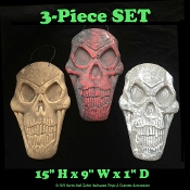 3pc SET-BIG Gothic Haunted House Dimensional SKELETON SKULL PLAQUES WALL SIGNS-Creepy Halloween Haunted House Graveyard Cemetery Wall Hanging Door Sign Yard Decor Decoration Horror Prop Scene Setter. Spooky dungeon, man cave, tombstone display