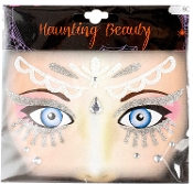 FROZEN ICE PRINCESS BELLY DANCER-Stick on Eye Wear Glitter Sequin Tattoo Decal with Jewels. Eye Shadow Face Art Sticker. Temporary Tattoos Transfer with Faux Rhinestone Gems Makeup Special Effects Cosmetic Accessory, as pictured. Easy removal.