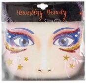 PATRIOTIC WONDER WOMAN-Stick on Eye Wear Glitter Sequin Tattoo Decal with Gold Silver Stars. Eye Shadow Face Art Sticker. Temporary Tattoos Transfer with Faux Rhinestone Gems Makeup Special Effects Cosmetic Accessory, as pictured. Easy removal.