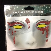 Gothic BLOODY VAMPIRESS-Stick on Eye Wear Glitter Sequin Tattoo Decal with Classic Detail. Eye Shadow Face Art Sticker. Temporary Tattoos Transfer with Faux Rhinestone Gems Makeup Special Effects Cosmetic Accessory, as pictured. Easy removal.