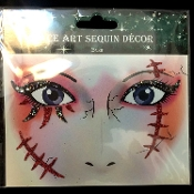 Sexy Gothic ZOMBIE MONSTER STITCHES-Stick on Eye Wear Glitter Sequin Tattoo Decal with Classic Detail. Eye Shadow Face Art Sticker. Temporary Tattoos Transfer Faux Rhinestone Gems Makeup Special Effects Cosmetic Accessory, as pictured. Easy removal.