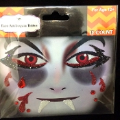 Gothic BLOODY VAMPIRE DRACULA-Stick on Eye Wear Glitter Sequin Tattoo Decal with Classic Detail. Eye Shadow Face Art Sticker. Temporary Tattoos Transfer with Faux Rhinestone Gems Makeup Special Effects Cosmetic Accessory, as pictured. Easy removal.