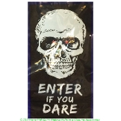 Spooky Gothic LIGHT UP DOOR COVERS WALL MURALS Halloween Haunted House Horror--SKULL-ENTER YOU DARE--flashing lighted window display photo booth colorful Black and White scene setter costume party decoration scary print with bright background lights.