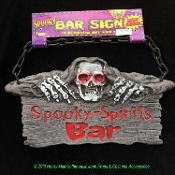 Door Wall SPOOKY SPIRITS BAR SIGN Halloween Party Haunted House Prop Decoration-Ghoulish kitchen dining bar prop. Creepy faux weathered wood plank look is a gothic display in any pirate den or dungeon, indoors or out. Back doubles as a Chalkboard!