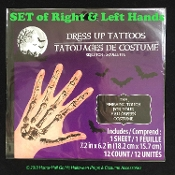 Realistic SKELETON HANDS BONES TEMPORARY FAKE TATTOOS-Gothic Punk Halloween Cosplay Costume Accessory-SET Adult Size Fingers Anatomy PAIR-Gross Horror Makeup Special Effects FX-Doctor, Nurse, Zombie, Day of the Dead, Mardi Gras-Black Print Decoration