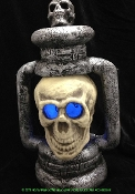 Spooky Multi-Color GIANT LIGHT UP SKULL LANTERN Scary Halloween Haunted House Prop Decoration-Creepy Jumbo Extra-Large Human Skeleton Head Size Gothic Realistic Pirate Theme Dungeon Cemetery Graveyard Crypt Scene Battery Operated Huge Lighted Lamp