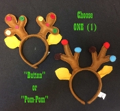 Funny Novelty BROWN REINDEER ANTLERS HEADBAND Ugly Christmas Sweater Party-ONE-Santa Helper Elves Colorful Elf Rudolph Theme Costume Headpiece Festive Holiday Decoration. UNISEX KIDS SIZE - BOYS or GIRLS. Choose Style: Multicolor Buttons or Pom-Poms.