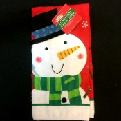 Holiday Theme Frosty SNOWMAN DISH CLOTH HAND TEA FINGERTIP TOWEL Kitchen Dining Bar Bathroom Party Display Hostess Cooking Baking Gift-Christmas Winter Red Green Printed Design Decorations. Cotton Polyester. Standard Size-ONE.