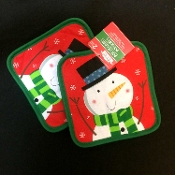 Holiday Theme Frosty SNOWMAN OVEN STOVE POT HOLDERS TRIVETS Kitchen Dining Bar Party Display Pun Practical Hostess Cooking Baking Gift-Christmas Winter Red Green Printed Design Functional Decorations. Great Ho-Ho hostess gift! TWO (2) piece pair SET
