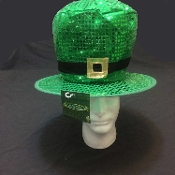 Funky St. Patrick's Day Kelly Green Huge Oversized JUMBO SHINY SEQUIN LEPRECHAUN HIGH TOP HAT with Wire Brim Faux Buckle - Lucky Stylish Irish Pride Saint Paddy Parade Cosplay Costume Accessory Fun Shamrock Luck Theme Party Decoration-Adult One Size
