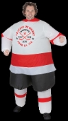 Hilarious Airblown Inflatable Costume Funny Sports Fan Team Mascot HOCKEY PLAYER. Includes self-inflating fan with battery pack to keep the unisex costume inflated for hours. Uses 4-AA Batteries, NOT included. Fits most adults 5 to 6-feet tall.