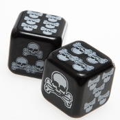 Funky Gothic Black with White SKULL and CROSSBONES DEATH DICE Casino Night Craps Roleplay Game Punk Pirate Theme Man Cave Bachelor Birthday Novelty Party Favors-ROLL THOSE BONES! Standard Size Pair-Deadly Gambler Gambling Cosplay Costume Accessory