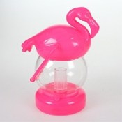 Small Plastic PINK FLAMINGO LED LANTERN Tropical Luau Theme Prop Mini Patio Table Top Lamp Night Light Decor Beach Pool Garden Pirate Birthday Party Favor Decoration - Battery Operated Fun Kitsch Bird Shape with Carry Handle -FREE BATTERIES INCLUDED