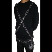 Medieval Gothic JAILER BELT WEARABLE CHAIN with Fake Lock and Keys-ZOMBIE PRISONER Steampunk Jailor Punk Biker Pirate Party Theme Cosplay Halloween Costume Accessory-Realistic Haunted House Border Fence Garland Scene Prop Building Yard Decoration