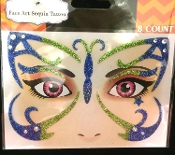 FANTASY BUTTERFLY FAIRY PRINCESS-Stick on Eye Wear Glitter Sequin Tattoo Decal with Classic Detail. Eye Shadow Face Art Sticker. Temporary Tattoos Transfer with Faux Rhinestone Gems Makeup Special Effects Cosmetic Accessory, pictured. Easy removal.
