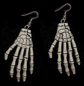 Huge Funky Realistic ZOMBIE BONES SKELETON HANDS EARRINGS - Punk Halloween Grim Reaper Wicca Witch Doctor Pirate Monster Walking Dead Gothic Horror Novelty Costume Jewelry Party Favors