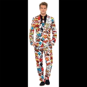Fancy Dress Outrageous Style Funny and Unique Collection of Crazy Novelty Print PARTY SUITS, JACKETS, VESTS and Accessories. Hilarious Licensed Movie Cartoon Character Printed Themes. Fun Every Day Costume Men's Clothing Apparel. Worn to be Wild!