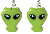 Huge LITTLE GREEN MEN ALIEN EARRINGS-Big Plastic novelty sci-fi Roswell theme charms, X-Files spaceman Martian character costume jewelry. UFO flying saucer Roswell intelligent space creature from another world. Extra Terrestrial or human? BELIEVE!