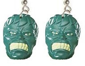 Frankenstein Monster-INCREDIBLE HULK EARRINGS-Avengers Halloween Costume Jewelry - HUGE Funky INCREDIBLE HULK EARRINGS - Retro Emo Movie Comics Punk Cartoon Costume Jewelry - You can be a Super-Hero wearing these big, funky collectible dangle charms.