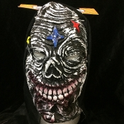 ZOMBIE GHOUL GRIM REAPER Scary Halloween Cosplay Costume HOODED LATEX RUBBER HORROR MASK Creepy Gothic Mardi Gras Masquerade Evil Monster Demon Ghoul Costume Accessory-UNISEX ADULT. Full Over Head Horror Mask Dummy Prop with Attached Costume Hood.