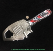 Small Size Budget BLOODY CHAINSAW Static Prop Cheap Toy Fake Weapon Halloween Costume Accessory - Soft Safe Blow Mold Hollow Plastic - Haunted House Photo Booth Decoration Slaughterhouse Serial Killer Horror Movie Murder Theme Warning Sign Building