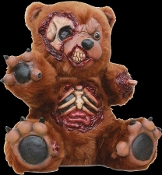 New Foam-Filled Latex Creepy BAD TEDDY BEAR Scary Disfigured Zombie Dead Doll Spooky Halloween Haunted House Horror Prop Decoration - Detailed Dismembered Torso Exposed Skull Bloody Bones Fake Animal Skeleton - 13-inch (32.5cm) - NOT KIDS TOY