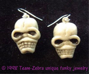 Creepy Severed Walking Dead ZOMBIE HEAD SKELETON SKULL EARRINGS - Headhunter, Pirate, Gothic, Wicca, Witch Doctor, Grim Reaper, Monster, Ghoul, Cosplay Halloween Costume Jewelry - Detailed, dimensional plastic weird ghoulish charms