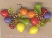 Funky Punk Kitsch TROPICAL FRUITS EARRINGS - Island Food Charm Luau Beach Pool Party Novelty Costume Jewelry - VINTAGE Miniature plastic 3-D beads: Cherry, Orange-Tangerine, Pear, Lemon, Pomegranate-Cranberry and Plum, with Green Leaves. Juicy fun!