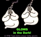 Funky GLOW GHOST EARRINGS - Halloween Haunted House Trick-or-Treat Charm Novelty Costume Jewelry - GID - Glow-in-the-Dark Plastic Charms. *Needs no batteries... Charges in Bright Light!
