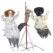 Scary Life Size Animated GHOSTLY GO ROUNDS HAUNTED DOLLS CAROUSEL Lighted Spooky Sound Effects Deluxe Animatronics Zombie Monster Demon Halloween Haunted House Prop Decoration-Creepy Music Plays as the Merry-Go-Round Rotates-See VIDEO!
