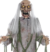5Ft Animated Growling STANDING ZOMBIE Light Sound Halloween Prop