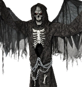 New Scary Animated Talking Zombie Winged Grim Reaper-OVER SIZE ANIMATED ANGEL OF DEATH-Glowing Eyes-Wings Move-Spooky Sound Motion Activated Creepy Halloween Haunted House Horror Prop Decoration-Proudly displays bones of some of his favorite victims!