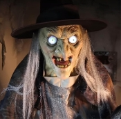 New Life Size Talking Animated LUNGING HAGGARD WITCH Scary Halloween Haunted House Prop Animatronics Decoration-Spooky LED Glowing Eyes-Creepy Crone Voice with Multiple Phrases. Wicked Hag Jumps Out to Startle Party Guests! STEP HERE PAD Included