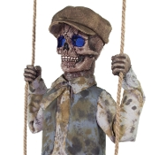 Deluxe Scary Hanging Animated Talking Vintage Style Skeleton-SWINGING SKELETAL BOY DOLL-Glowing Eyes Spooky Sound Effects Motion Activated Creepy Halloween Haunted House Horror Prop Decoration. He wants to play and promises not to hurt you... Much!