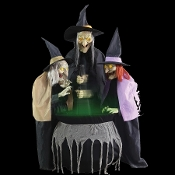 Deluxe Animated LIFE SIZE Talking Creepy STITCH WITCH SISTERS TRIO Scary Cackling Voices-Spooky Glowing Eyes-Bubbling Potion Lighted Cauldron-Three Spell Casting Crones-Halloween Haunted House Animatronics Prop Decoration-FIVE FEET TALL-See Video!