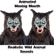 WEREWOLF ANIMATED WILD ANIMAL MASK Moving Mouth Movable Jaw with Hand Held Push Button Activated Realistic Sound Effects Faux Fur Furry Furries Fandom ADULT Size Full Over Head Fancy Dress Halloween Cosplay Costume Party Accessory-Yellow Eyes-VIDEO!