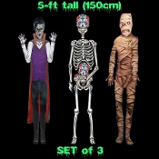 "3-PC SET Jointed Cutout Creepy LIFE SIZE-Rotting MUMMY-Dracula VAMPIRE-Sugar Skull SKELETON-Door Decorations Wall Hangings Spooky Halloween Haunted House Props Scene Setters - 3 Different Scary Un-Dead Fold-Out Cardboard Paper Pictures-60"" TALL"