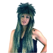 Funky Long Spiked Unisex BLACK FROSTED PUNK ROCKER WIG Cool Biker Diva Rockabilly Gothic EMO Elvira Cosplay Halloween Costume Accessory. Straight Retro Pop Rock Star. Crazy mullet layered head banger style. For heavy metal music icon fancy dress!