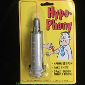 Funny Fake PHONY HYPO HYPODERMIC SYRINGE Comical Doctor Nurse Zombie Apocalypse CDC Morgue Autopsy Cosplay Halloween Costume Prop Accessory Retracting Injection Needle Pretend to Draw Blood Classic Novelty Magic Trick Joke Gag - Original by Fun, Inc.