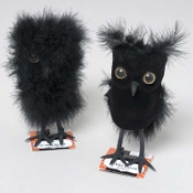 SET of 2 Cute Dimensional Fuzzy Flocked Mini FEATHERED BLACK OWLS Gothic Miniature Feather Artificial Birds Halloween Ornaments, Haunted House Props, Party Table Decorations, Floral Crafts Projects-with Wired Legs for Easy Positioning on Wreaths, etc