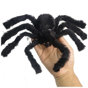 6-inch (15cm) Diameter Creepy Furry Tarantula BLACK FUZZY SPIDER with WIRE POSABLE LEGS Fake Fur Covered Foam Jewel Bead Eyes Halloween Costume Party Haunted House Prop Witch Theme Cemetery Graveyard Crypt Decoration-Outstretched Size, 12-inch (30cm)