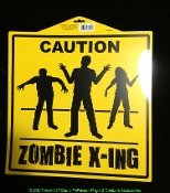 Yellow Black Warning - ZOMBIE X-ING CROSSING ROAD SIGN - Halloween Costume Party Horror Prop Building Decoration Cemetery Graveyard Forest Ghost Haunt Door Plaque Wall Hanging Yard Decor Crafts-Single Side Print Indoor Outdoor PLASTIC