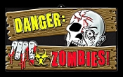 Gothic Horror-DANGER ZOMBIES-Halloween Prop Decoration cemetery, graveyard, wall, door, yard Warning SIGN for Teen Room, Man Cave, Castle Haunt Decor. Creepy Haunted House spooky dungeon, tombstone scene or costume party wall display.