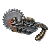 Battle Saw Gun Plastic Toy Fake Weapon Steampunk Halloween Static Prop Cosplay Costume Accessory from the Operation Rapid Strike top secret espionage role play game Red Sector line. Futuristic Warrior Zombie Hunter Horror Movie Theme