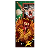 Funny CRAZY WILD TURKEY DOOR COVER POSTER MURAL Thanksgiving Christmas Holiday Bathroom Wall Hanging Birthday Locker Halloween Prop Decor. Hysterical party decoration! Whimsical gag mural traditional cartoon holiday bird running for his life!