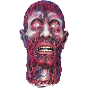 Fake Life Size Realistic Severed Human BLOODY SKINNED HEAD Decapitated Zombie Cut Off Body Part with Partial Neck and Exposed Flesh Veins Muscles. Dismembered Halloween Horror Haunted House Mad Scientist Asylum Doctor Morgue Autopsy Prop Decoration.