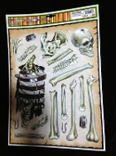 19-pc HUMAN SKULL SKELETON BONES BODY PARTS PUZZLE Scary Gothic Horror Prop CREEPY WINDOW CLING Glass Door Decor Mirror Decal Refrigerator Sticker Toilet Tattoo Party Room Haunted House Halloween Decoration Create Scene Setter