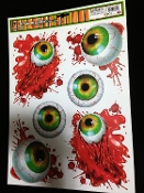 6-pc BLOODY EYES GORY EYEBALLS BODY PARTS BLOOD DROP Scary Gothic Horror Prop CREEPY WINDOW CLING Glass Door Décor Mirror Decal Refrigerator Sticker Toilet Tattoo Party Room Haunted House Halloween Decoration Joke Prank Gag Gift