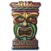 3-D Tropical Island Luau TIKI HEAD MASK TOTEM Dimensional Yard Sign Beach Pool Party Voodoo Wall Hanging Door Plaque Window Decoration. 18-inch tall x 11-inch wide plastic on 24-inch wood stake, bright multi-color Hawaiian theme Tiki Bar decor.